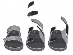 Technical illustration showing medical footware assembly