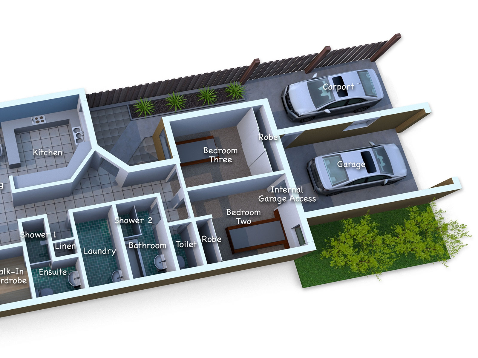 Detailed colourful 3D realistic floor plans for the real estate market