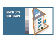 Inner city building isometric detailed colourful vector icon illustration