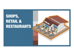 Restaurant and shops building isometric detailed colourful vector icon illustration