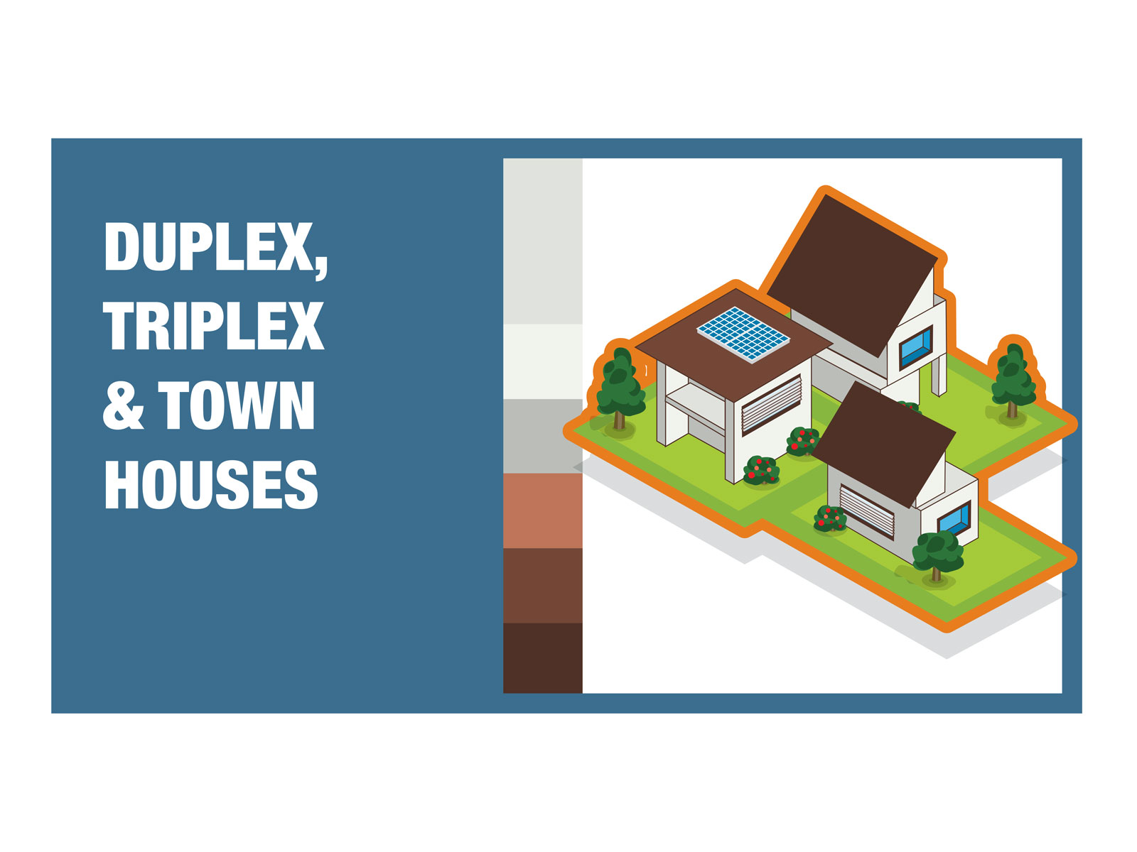 Town house and units isometric detailed colourful vector icon illustration