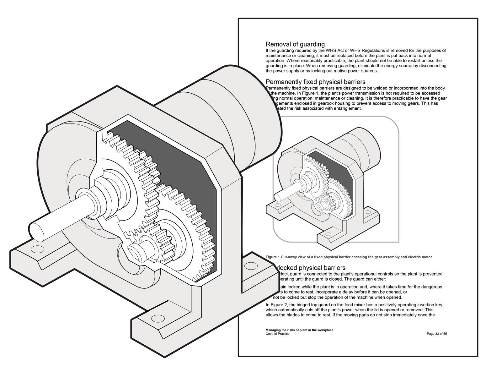 Cutaway of a fixed barrier encasing a gear assembly