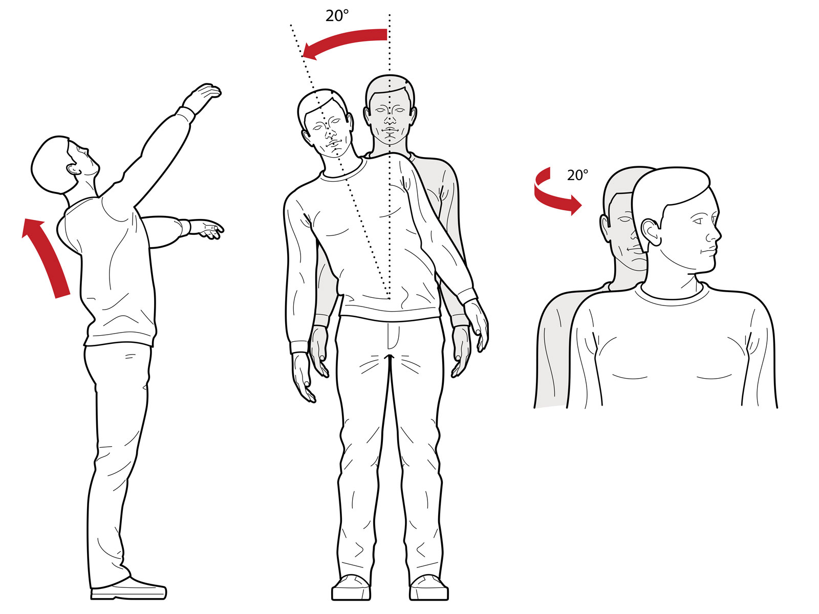 OHS diagrams showing repetitive head and back movements